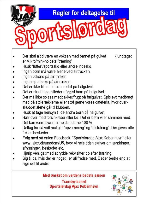 regler for deltagelse sportslørdag